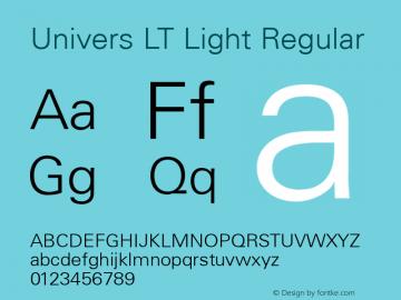 Univers LT Light Regular Version 6.1; 2002 Font Sample