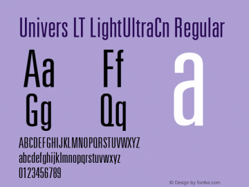 Univers LT LightUltraCn Regular Version 6.1; 2002 Font Sample