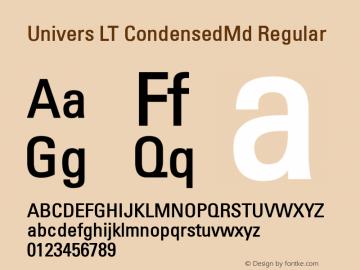 Univers LT CondensedMd Regular Version 6.1; 2002 Font Sample
