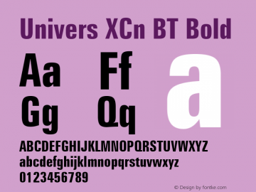 Univers XCn BT Bold mfgpctt-v4.4 Dec 17 1998 Font Sample