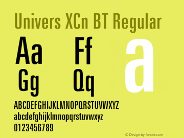 Univers XCn BT Regular mfgpctt-v4.4 Dec 17 1998 Font Sample
