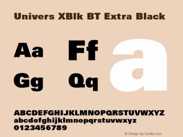 Univers XBlk BT Extra Black mfgpctt-v4.4 Dec 23 1998 Font Sample