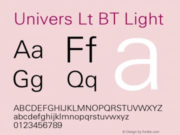Univers Lt BT Light mfgpctt-v4.4 Dec 23 1998 Font Sample