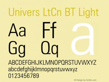 Univers LtCn BT Light mfgpctt-v4.4 Dec 23 1998 Font Sample