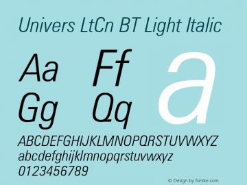 Univers LtCn BT Light Italic mfgpctt-v4.4 Dec 29 1998 Font Sample