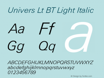 Univers Lt BT Light Italic mfgpctt-v4.4 Dec 23 1998 Font Sample