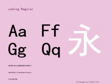coding Regular Version 1.010;PS 1.000;hotconv 1.0.70;makeotf.lib2.5.5900 Font Sample