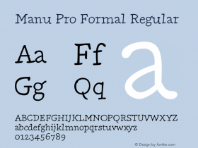 Manu Pro Formal Regular Version 1.0; 2012图片样张