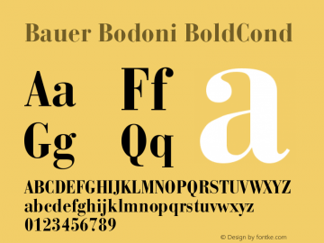 Bauer Bodoni Bold Condensed Version 001.001图片样张