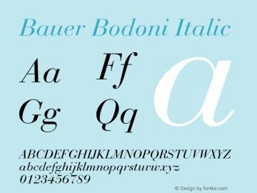 Bauer Bodoni Italic Version 001.003图片样张