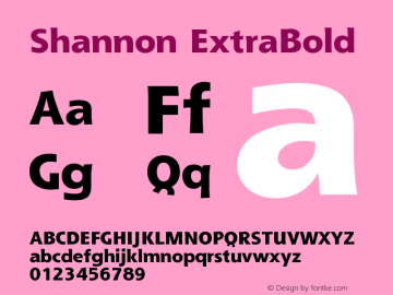 Shannon Extra Bold Version 001.000图片样张