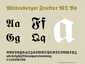 Wittenberger Fraktur MT Bold Version 001.000图片样张