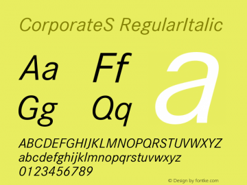 CorporateS-RegularItalic Version 001.004图片样张