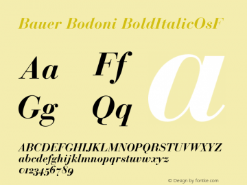 Bauer Bodoni Bold Italic Oldstyle Figures Version 001.001图片样张