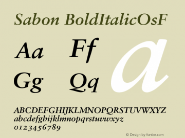 Sabon Bold Italic Oldstyle Figures Version 001.001图片样张