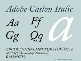Adobe Caslon Italic Version 001.003图片样张