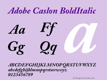 Adobe Caslon Bold Italic Version 001.003图片样张