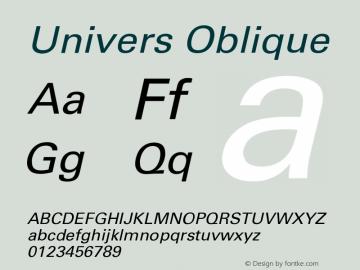 Univers CE 55 Oblique Version 001.000 Font Sample
