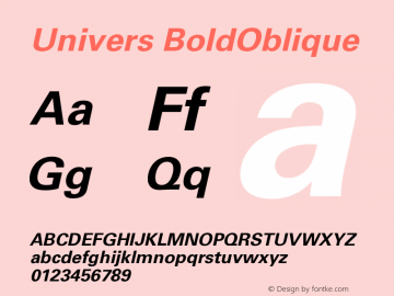 Univers CE 65 Bold Oblique Version 001.000 Font Sample