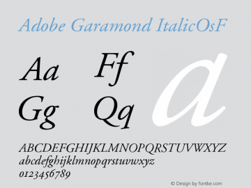 Adobe Garamond Italic Oldstyle Figures Version 001.002图片样张