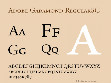 Adobe Garamond Small Caps & Oldstyle Figures Version 001.003图片样张