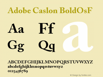 Adobe Caslon Bold Oldstyle Figures Version 001.002图片样张