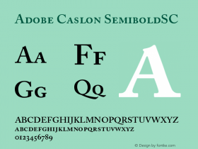 Adobe Caslon Semibold Small Caps & Oldstyle Figures Version 001.002图片样张