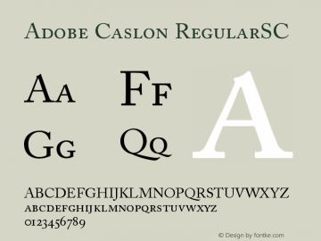 Adobe Caslon Regular Small Caps & Oldstyle Figures Version 001.002图片样张