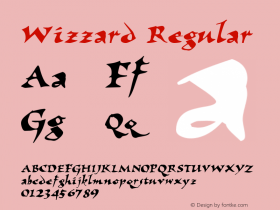 Wizzard Regular The IMSI MasterFonts Collection, tm 1995, 1996 IMSI (International Microcomputer Software Inc.) Font Sample