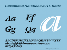 Garamond Handtooled ITC Italic Version 001.005图片样张
