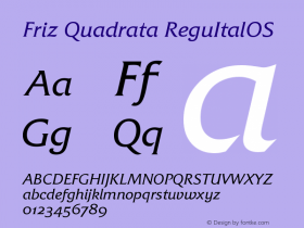 Friz Quadrata Regular Italic OS Version 001.005图片样张