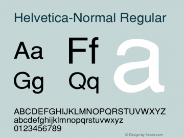 Helvetica-Normal Converted from c:\alltype\SWZN.TF1 by ALLTYPE图片样张