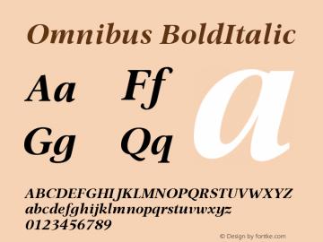 Omnibus-BoldItalic Version 005.000图片样张