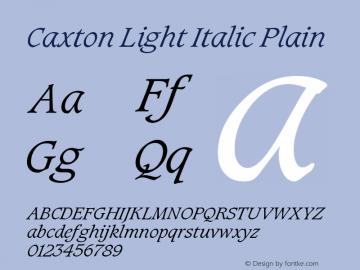 Caxton Light Italic Plain Version 005.000图片样张