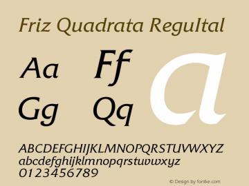 Friz Quadrata Regular Italic Version 005.000图片样张