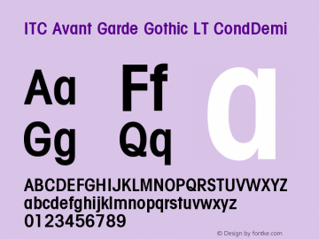 ITC Avant Garde Gothic LT Condensed Demi Version 006.000图片样张
