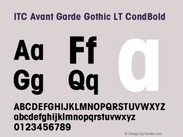 ITC Avant Garde Gothic LT Condensed Bold Version 006.000图片样张