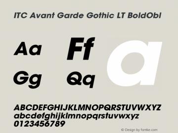 ITC Avant Garde Gothic LT Bold Oblique Version 006.000图片样张