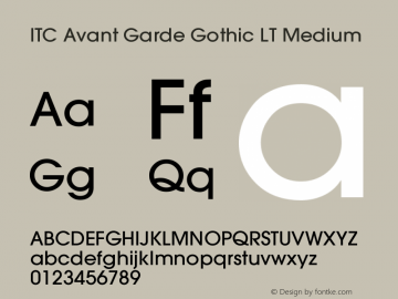 ITC Avant Garde Gothic LT Medium Version 006.000图片样张