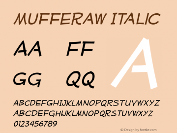 Mufferaw-Italic Version 2.201 2004 Font Sample