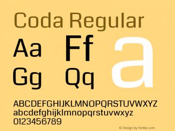 Coda Regular Version 2.001; ttfautohint (v0.8) -r 50 -G 200 -x图片样张
