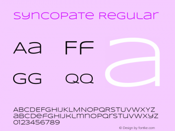 Syncopate Regular Version 001.001图片样张