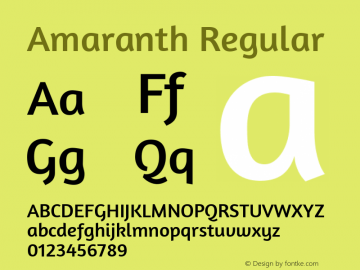 Amaranth Regular Version 1.001图片样张