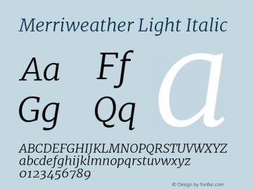 Merriweather Light Italic Version 1.584; ttfautohint (v1.5) -l 6 -r 36 -G 0 -x 10 -H 350 -D latn -f cyrl -w