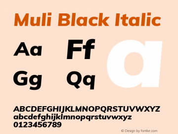 Muli Black Italic Version 2.000图片样张