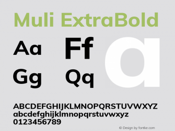 Muli ExtraBold Version 2.000图片样张