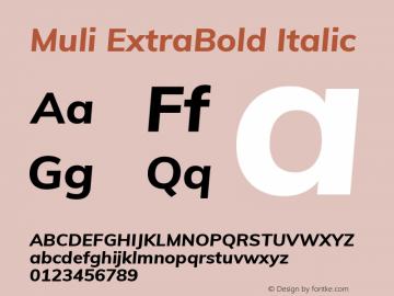 Muli ExtraBold Italic Version 2.000图片样张