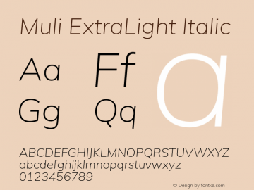 Muli ExtraLight Italic Version 2.000图片样张