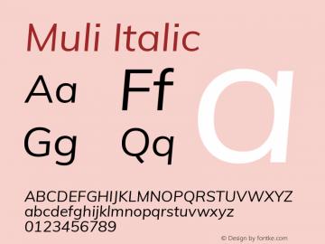 Muli Italic Version 2.000图片样张