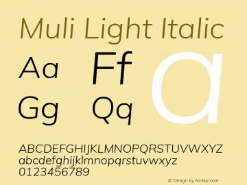 Muli Light Italic Version 2.000图片样张
